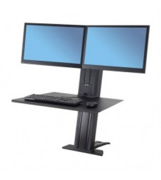 WorkFit-SR, Dual Monitor, Sit-Stand Desktop Workstation (Black)