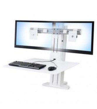 WorkFit-SR, Dual Monitor, Sit-Stand Desktop Workstation (White)