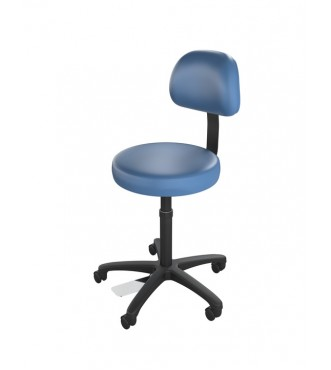Ultimate Medical Stool with Back Black Finish